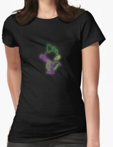 Spike the Dragon Neon Glow Lights Womens Fitted T-Shirt