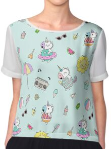 Summer Unicorn Pool Party Chiffon Top