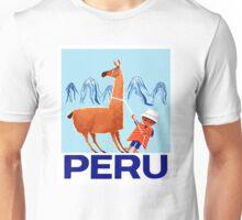 Vintage Child and Llama Peru Travel Poster Unisex T-Shirt
