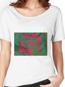 Abstract colorful watercolor illustration with paint strokes and swirls. Women's Relaxed Fit T-Shirt