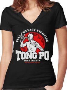 NEW TONG PO MUAY THAI FIGHTER VILLAIN KICKBOXER VAN DAMME MOVIE Women's Fitted V-Neck T-Shirt