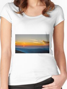 Beautiful Sunset Over Rila Mountain Women's Fitted Scoop T-Shirt