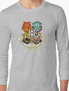 Harry Potter Stained Glass Houses Long Sleeve T-Shirt