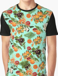 Fruit and Floral Pattern Graphic T-Shirt