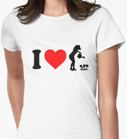 I Love Gardening Flowers Silhouette Womens Fitted T-Shirt