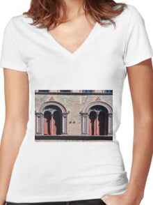 Building facade with two windows with arcades from Bologna. Women's Fitted V-Neck T-Shirt