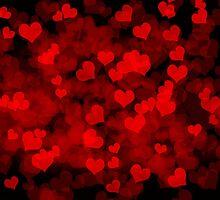 Dark background with hearts by ellensmile