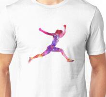 Woman runner running jumping shouting Unisex T-Shirt