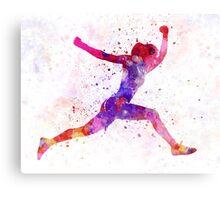 Woman runner running jumping shouting Canvas Print