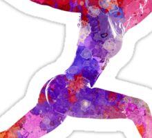 Woman runner running jumping shouting Sticker