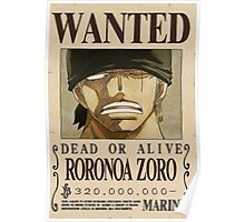 NEW WORLD ZORO WANTED POSTER Poster