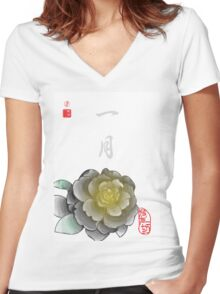 Inked Petals of a Year January Women's Fitted V-Neck T-Shirt