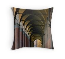 Portico in Bologna with columns and arched pathway. Throw Pillow
