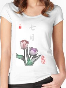 Inked Petals of a Year July Women's Fitted Scoop T-Shirt