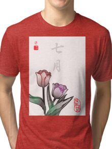 Inked Petals of a Year July Tri-blend T-Shirt