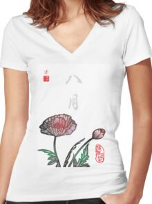 Inked Petals of a Year August Women's Fitted V-Neck T-Shirt