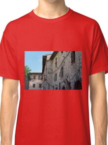 Stone facade buildings on the street in Assisi Classic T-Shirt