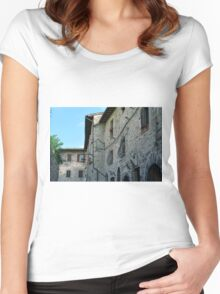 Stone facade buildings on the street in Assisi Women's Fitted Scoop T-Shirt