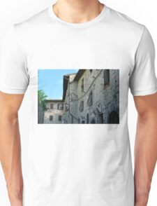 Stone facade buildings on the street in Assisi Unisex T-Shirt
