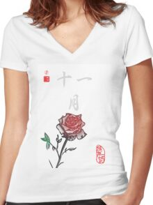 Inked Petals of a Year November Women's Fitted V-Neck T-Shirt