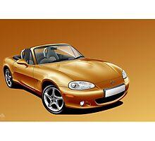 Poster artwork - Mazda MX-5 (Eunos, Miata) mk2  by RJWautographics