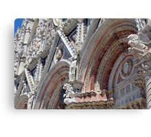 Detail of cathedral from Siena with stone decorations Canvas Print