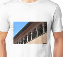 Simple brick facade from Siena with columns and arches. Unisex T-Shirt