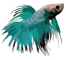 Betta Pillow - Turquoise by DougPop