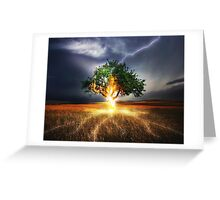 Lightning hits tree Greeting Card