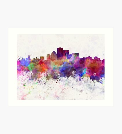 Rochester NY skyline in watercolor background Art Print