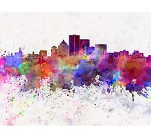 Rochester NY skyline in watercolor background Photographic Print
