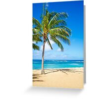 Palm trees on the sandy beach in Hawaii Greeting Card