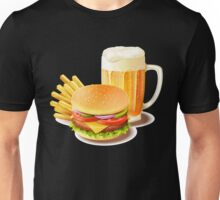 Cheeseburger-Beer Lover-Funny Artsy Food-Vintage-Hamburger Lovers Gift Unisex T-Shirt
