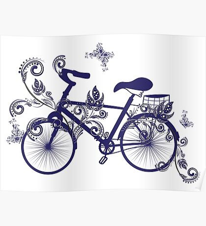 Bicycle and Floral Ornament 4 Poster