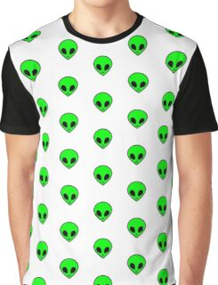 Cute Funny Cool Green Outer Space Alien Pattern  Graphic T-Shirt