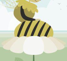 Queen bee resting on a flower Sticker