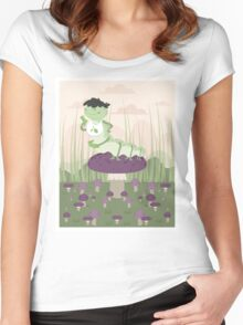 Inchworm eating up a mushroom Women's Fitted Scoop T-Shirt