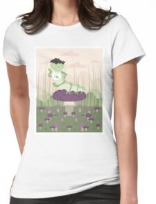 Inchworm eating up a mushroom Womens Fitted T-Shirt