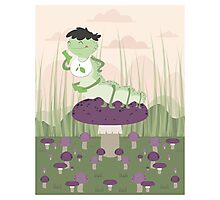Inchworm eating up a mushroom Photographic Print