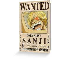 NEW WORLD SANJI WANTED POSTER Greeting Card