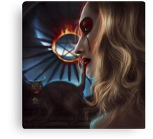 Witch with cat Canvas Print