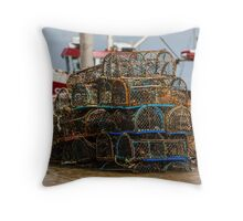 Lobster Pots - British Coast And Beach  Throw Pillow