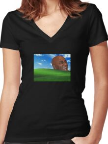 Ainsley Harriott windows vaporwave Women's Fitted V-Neck T-Shirt