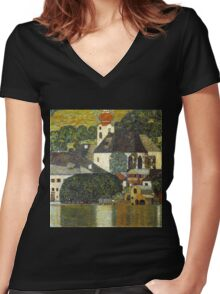 Church in Unterach on the Attersee by Gustav Klimt Women's Fitted V-Neck T-Shirt