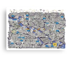 Illustrated map of Berlin-Mitte. Blue Canvas Print