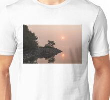 Misty Sunrise on the Lake - Soft Pink Fog and Sunshine Unisex T-Shirt