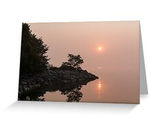 Misty Sunrise on the Lake - Soft Pink Fog and Sunshine Greeting Card