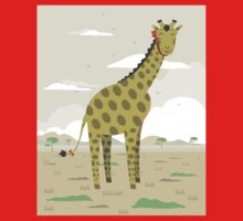 Giraffe in the savanna  One Piece - Short Sleeve
