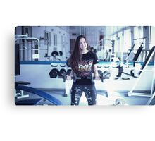 Beautiful fit woman working out in gym  Canvas Print