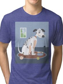 Dog with a bone in his mouth Tri-blend T-Shirt